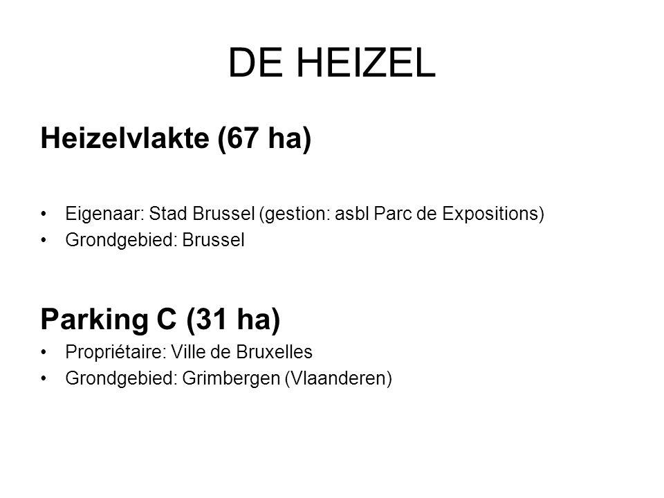 DE HEIZEL Heizelvlakte (67 ha) Eigenaar: Stad Brussel (gestion: asbl Parc de Expositions) Grondgebied: Brussel Parking C (31 ha) Propriétaire: Ville de Bruxelles Grondgebied: Grimbergen (Vlaanderen)