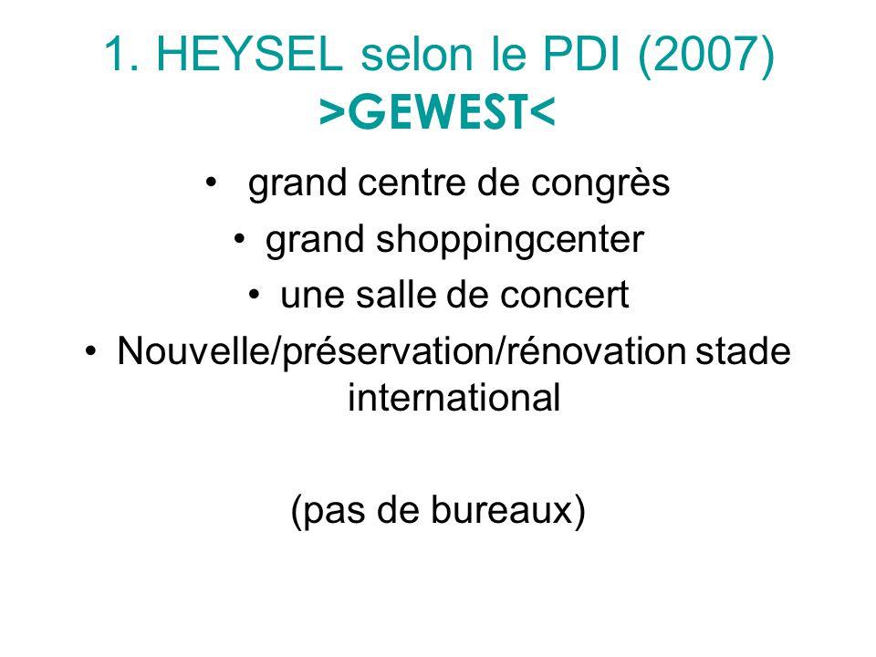 1. HEYSEL selon le PDI (2007) > GEWEST< grand centre de congrès grand shoppingcenter une salle de concert Nouvelle/préservation/rénovation stade inter