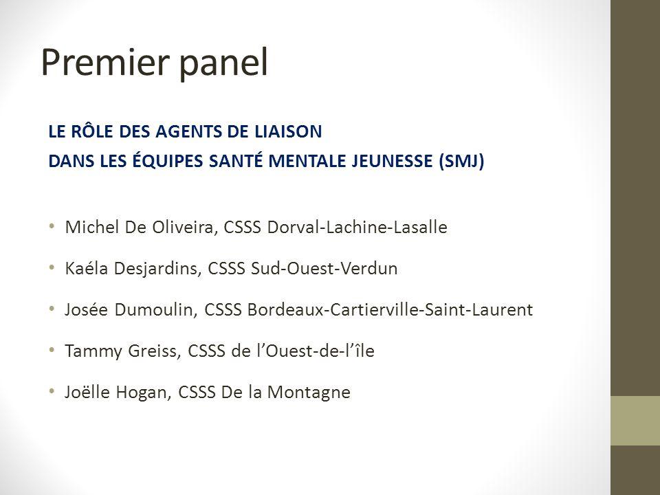 Premier panel LE RÔLE DES AGENTS DE LIAISON DANS LES ÉQUIPES SANTÉ MENTALE JEUNESSE (SMJ) Michel De Oliveira, CSSS Dorval-Lachine-Lasalle Kaéla Desjar