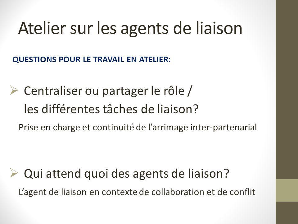Atelier sur les agents de liaison QUESTIONS POUR LE TRAVAIL EN ATELIER:  Centraliser ou partager le rôle / les différentes tâches de liaison? Prise e