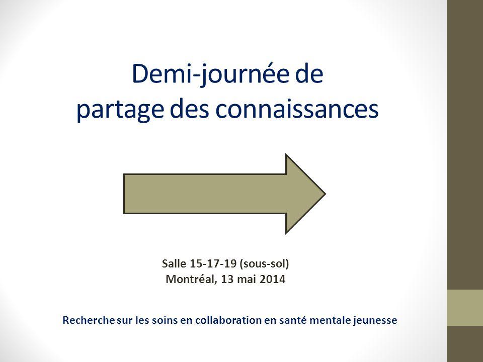 Demi-journée de partage des connaissances Salle 15-17-19 (sous-sol) Montréal, 13 mai 2014 Recherche sur les soins en collaboration en santé mentale jeunesse