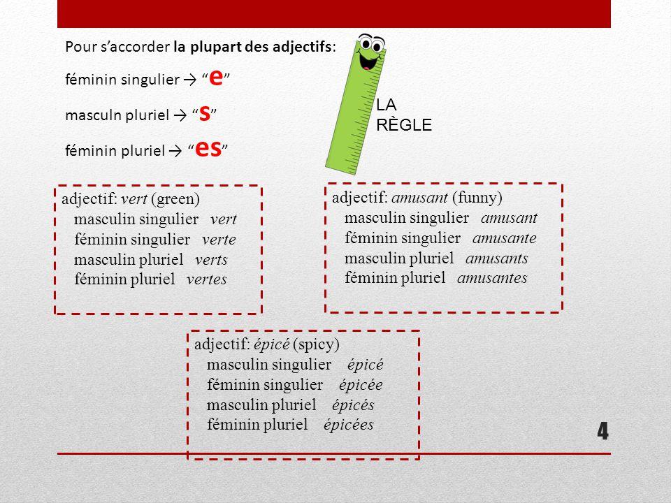 """4 Pour s'accorder la plupart des adjectifs: féminin singulier → """" e """" masculn pluriel → """" s """" féminin pluriel → """" es """" LA RÈGLE adjectif: vert (green)"""