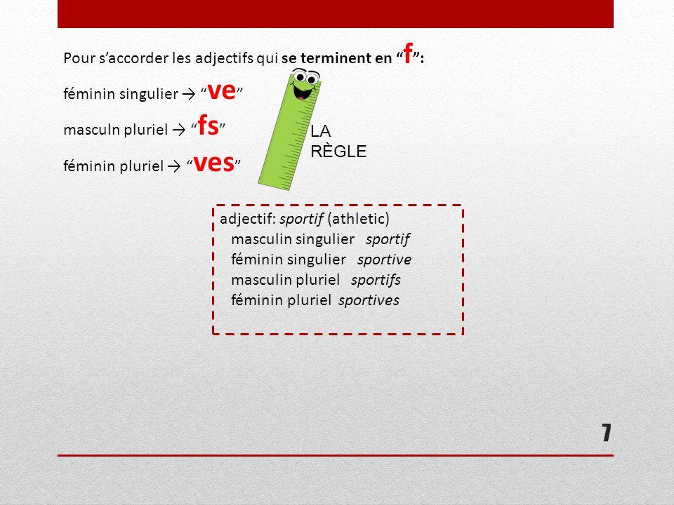 """7 Pour s'accorder les adjectifs qui se terminent en """" f """": féminin singulier → """" ve """" masculn pluriel → """" fs """" féminin pluriel → """" ves """" LA RÈGLE adje"""