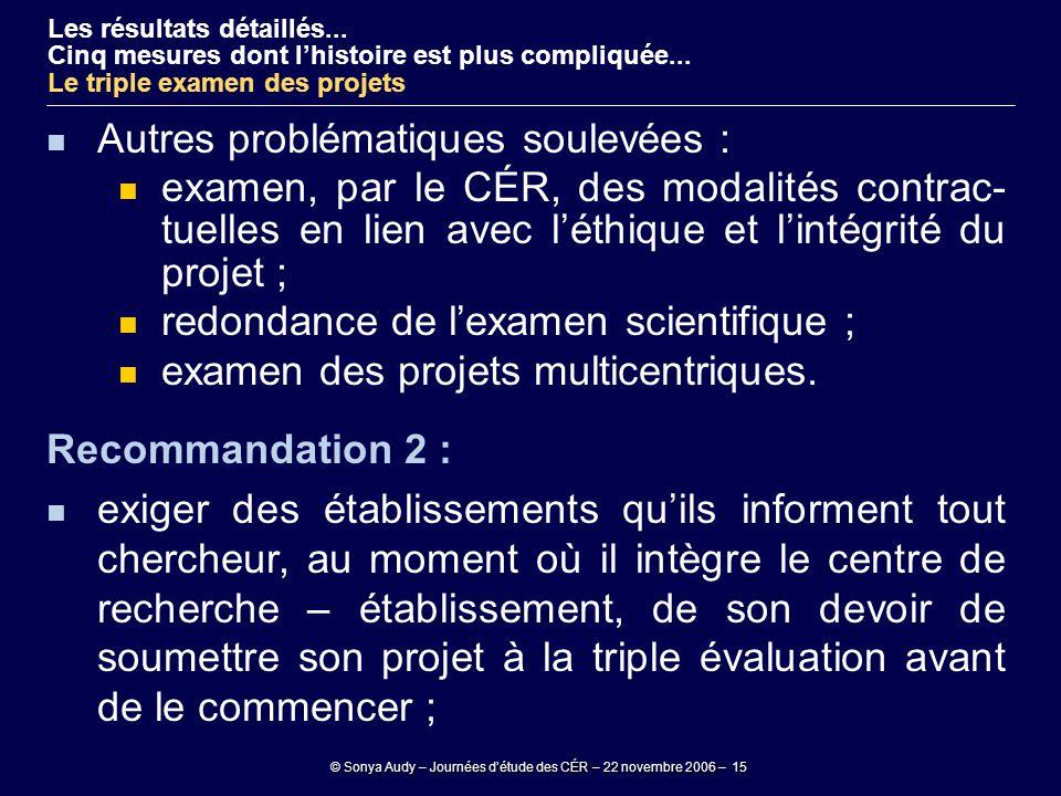 © Sonya Audy – Journées d'étude des CÉR – 22 novembre 2006 – 15 Autres problématiques soulevées : examen, par le CÉR, des modalités contrac- tuelles e