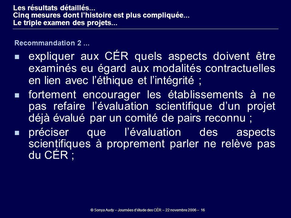 © Sonya Audy – Journées d'étude des CÉR – 22 novembre 2006 – 16 Recommandation 2... expliquer aux CÉR quels aspects doivent être examinés eu égard aux