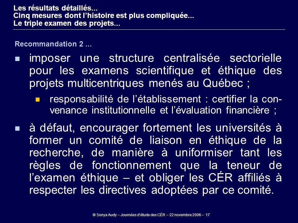 © Sonya Audy – Journées d'étude des CÉR – 22 novembre 2006 – 17 Recommandation 2... imposer une structure centralisée sectorielle pour les examens sci