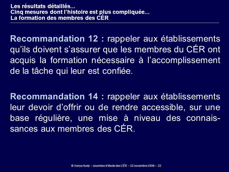 © Sonya Audy – Journées d'étude des CÉR – 22 novembre 2006 – 22 Recommandation 12 : rappeler aux établissements qu'ils doivent s'assurer que les membr