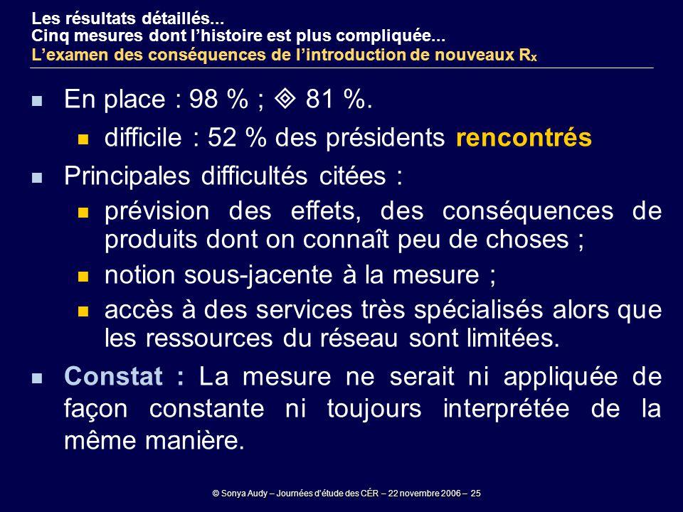 © Sonya Audy – Journées d'étude des CÉR – 22 novembre 2006 – 25 En place : 98 % ;  81 %. difficile : 52 % des présidents rencontrés Principales diffi