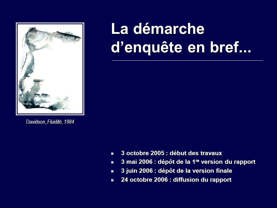 La démarche d'enquête en bref... 3 octobre 2005 : début des travaux 3 octobre 2005 : début des travaux 3 mai 2006 : dépôt de la 1 re version du rappor
