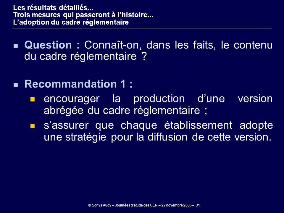 © Sonya Audy – Journées d'étude des CÉR – 22 novembre 2006 – 31 Question : Connaît-on, dans les faits, le contenu du cadre réglementaire ? Recommandat