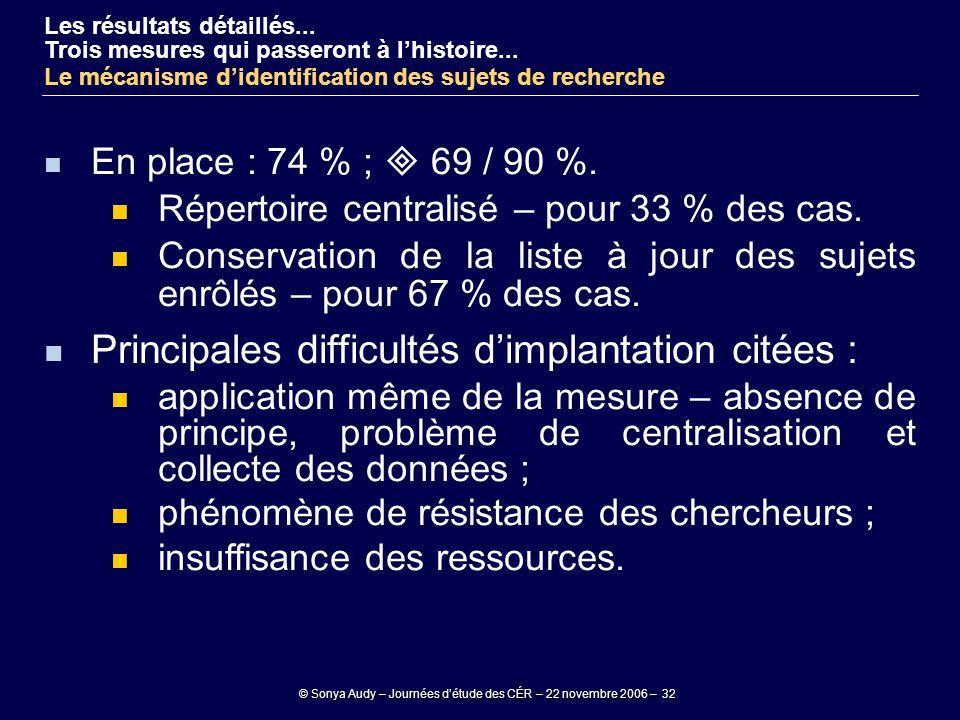 © Sonya Audy – Journées d'étude des CÉR – 22 novembre 2006 – 32 En place : 74 % ;  69 / 90 %. Répertoire centralisé – pour 33 % des cas. Conservation