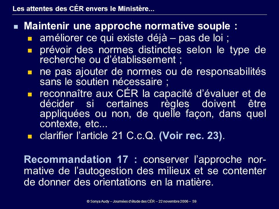 © Sonya Audy – Journées d'étude des CÉR – 22 novembre 2006 – 59 Les attentes des CÉR envers le Ministère... Maintenir une approche normative souple :