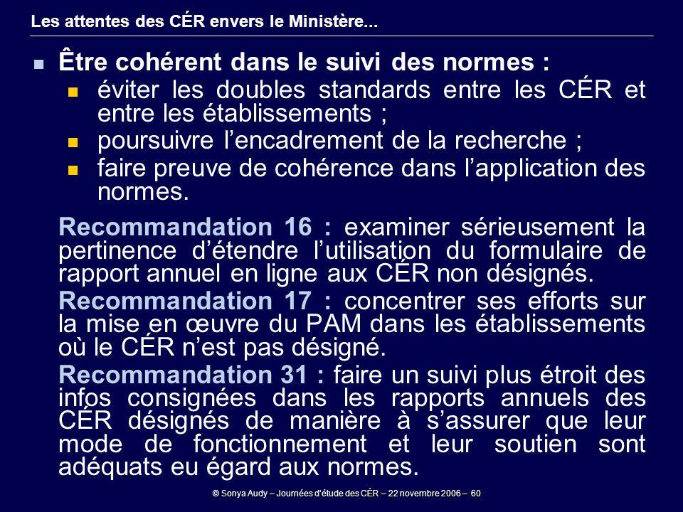 © Sonya Audy – Journées d'étude des CÉR – 22 novembre 2006 – 60 Les attentes des CÉR envers le Ministère... Être cohérent dans le suivi des normes : é