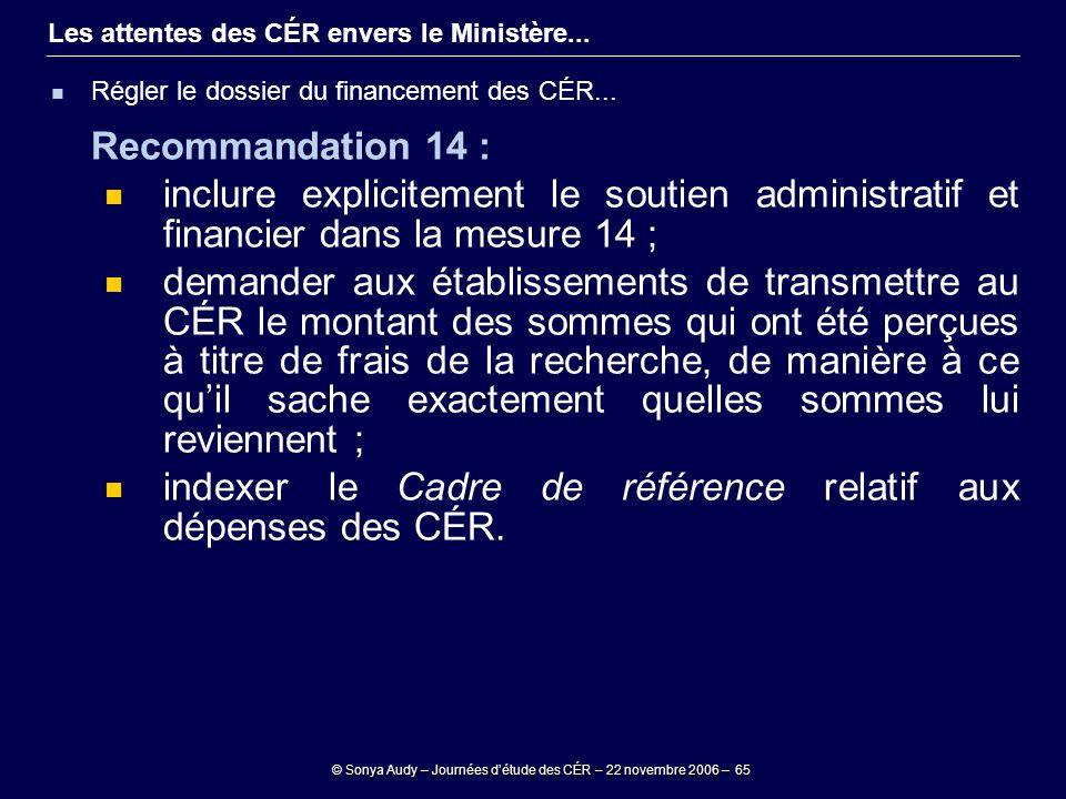 © Sonya Audy – Journées d'étude des CÉR – 22 novembre 2006 – 65 Les attentes des CÉR envers le Ministère... Régler le dossier du financement des CÉR..