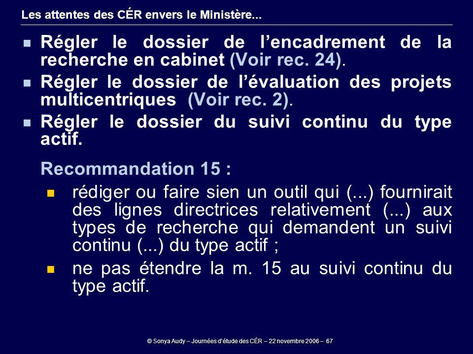 © Sonya Audy – Journées d'étude des CÉR – 22 novembre 2006 – 67 Les attentes des CÉR envers le Ministère... Régler le dossier de l'encadrement de la r