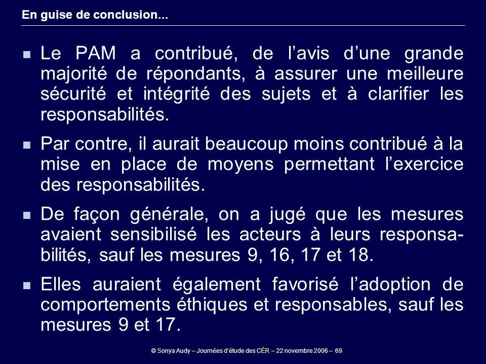 © Sonya Audy – Journées d'étude des CÉR – 22 novembre 2006 – 69 En guise de conclusion... Le PAM a contribué, de l'avis d'une grande majorité de répon