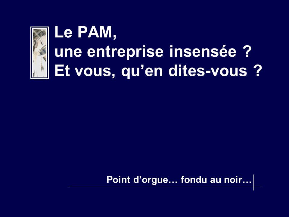 Le PAM, une entreprise insensée ? Et vous, qu'en dites-vous ? Point d'orgue… fondu au noir…