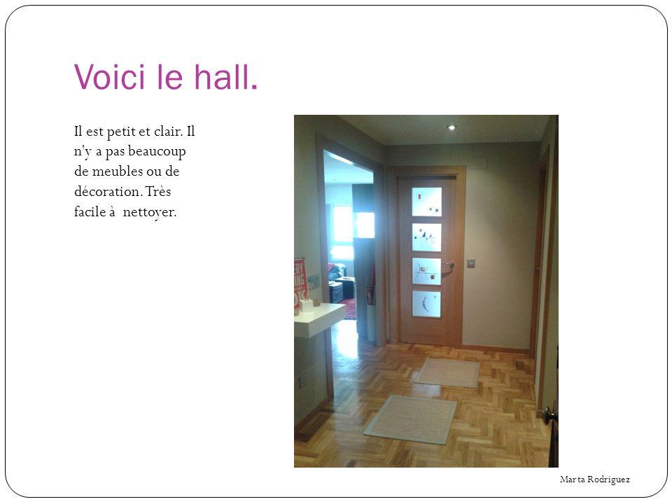 Voici le hall.Il est petit et clair. Il n y a pas beaucoup de meubles ou de décoration.