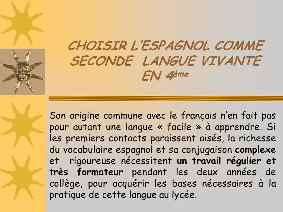 CHOISIR L'ESPAGNOL COMME SECONDE LANGUE VIVANTE EN 4 ème L'enseignement de l'espagnol est proposé dans la plupart des collèges et des lycées du territoire français.