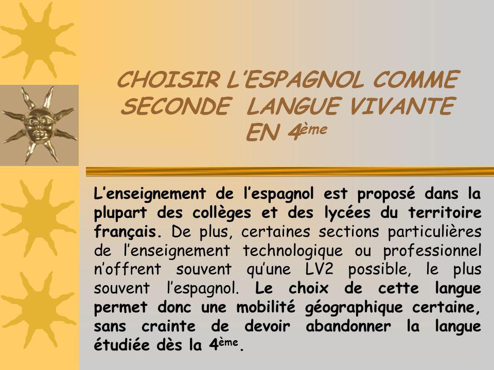 CHOISIR L'ESPAGNOL COMME SECONDE LANGUE VIVANTE EN 4 ème L'enseignement de l'espagnol est proposé dans la plupart des collèges et des lycées du territ