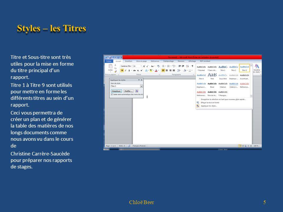Créer un style Par la fenêtre Appliquer les styles: Sélectionnez le paragraphe comportant la mise en forme que vous voulez sauvegarder Appuyez sur CTRL + + S.