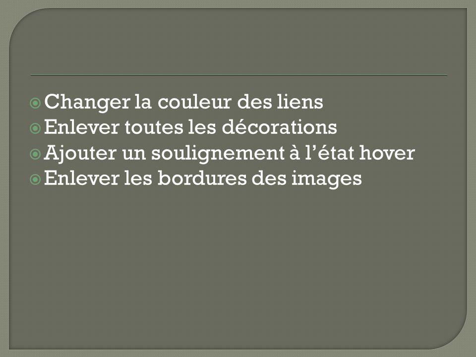  Changer la couleur des liens  Enlever toutes les décorations  Ajouter un soulignement à l'état hover  Enlever les bordures des images
