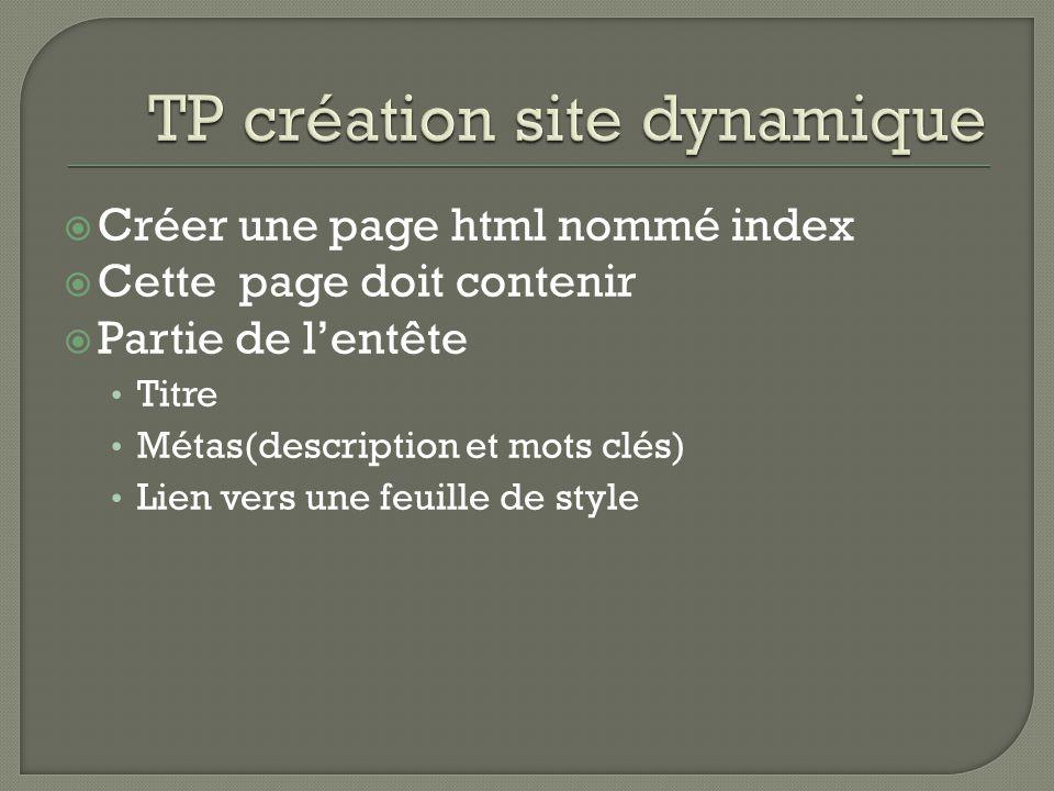  Créer une page html nommé index  Cette page doit contenir  Partie de l'entête Titre Métas(description et mots clés) Lien vers une feuille de style