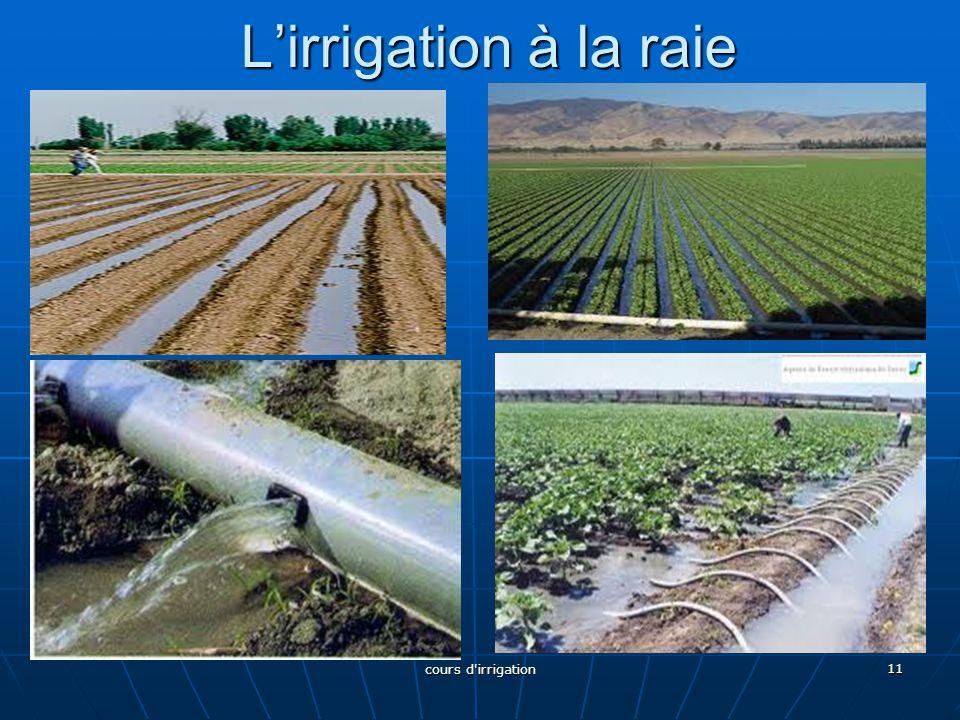 L'irrigation à la raie 11 cours d'irrigation