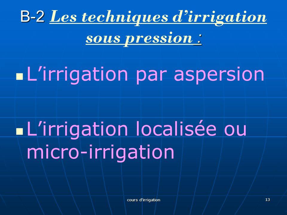 B-2 : B-2 Les techniques d'irrigation sous pression : : Les techniques d'irrigation sous pression : L'irrigation par aspersion L'irrigation localisée ou micro-irrigation 13 cours d irrigation