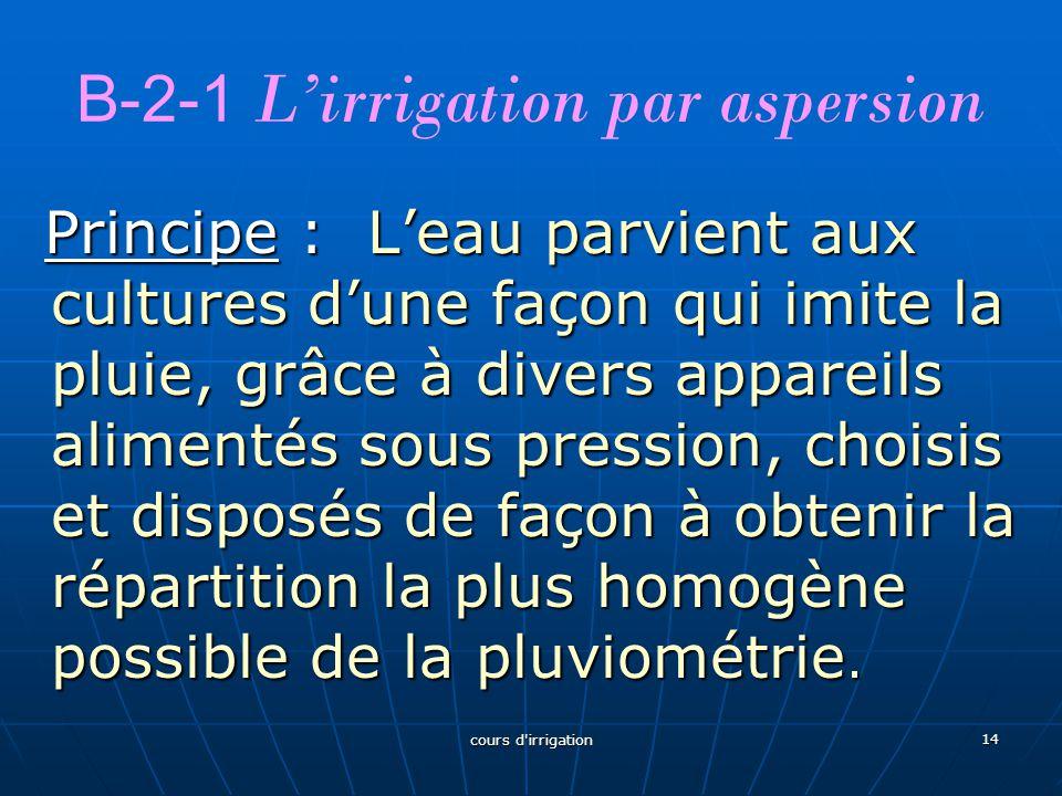 B-2-1 L'irrigation par aspersion Principe : L'eau parvient aux cultures d'une façon qui imite la pluie, grâce à divers appareils alimentés sous pressi
