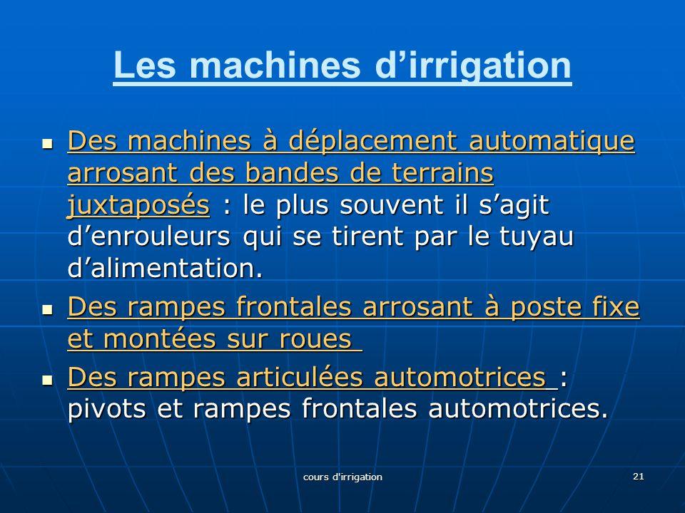 Les machines d'irrigation Des machines à déplacement automatique arrosant des bandes de terrains juxtaposés : le plus souvent il s'agit d'enrouleurs qui se tirent par le tuyau d'alimentation.