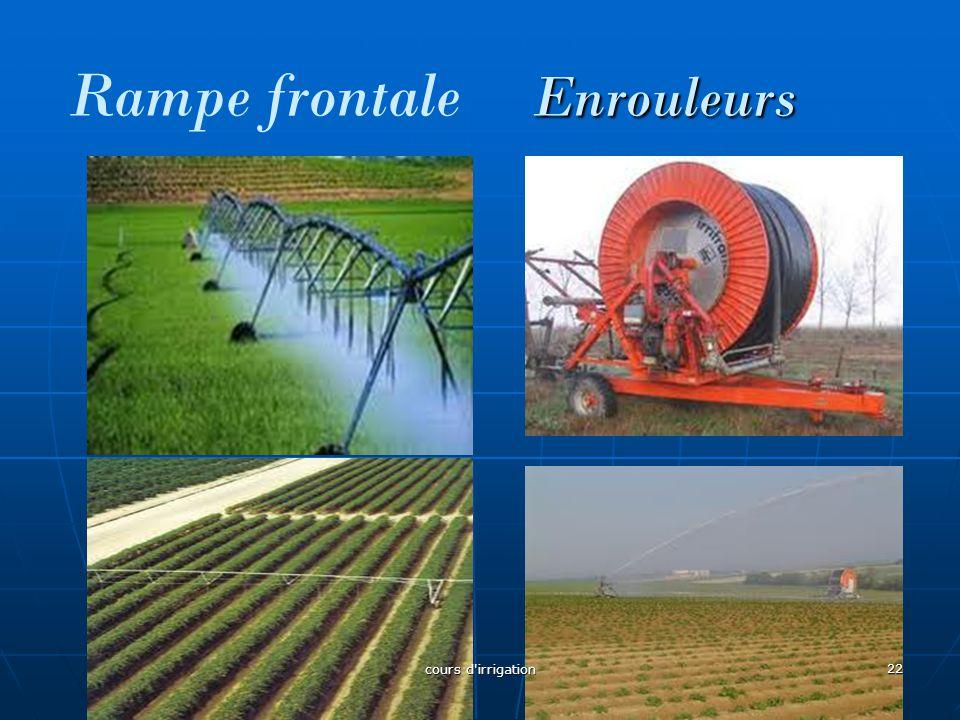 Enrouleurs Rampe frontale Enrouleurs 22 cours d'irrigation