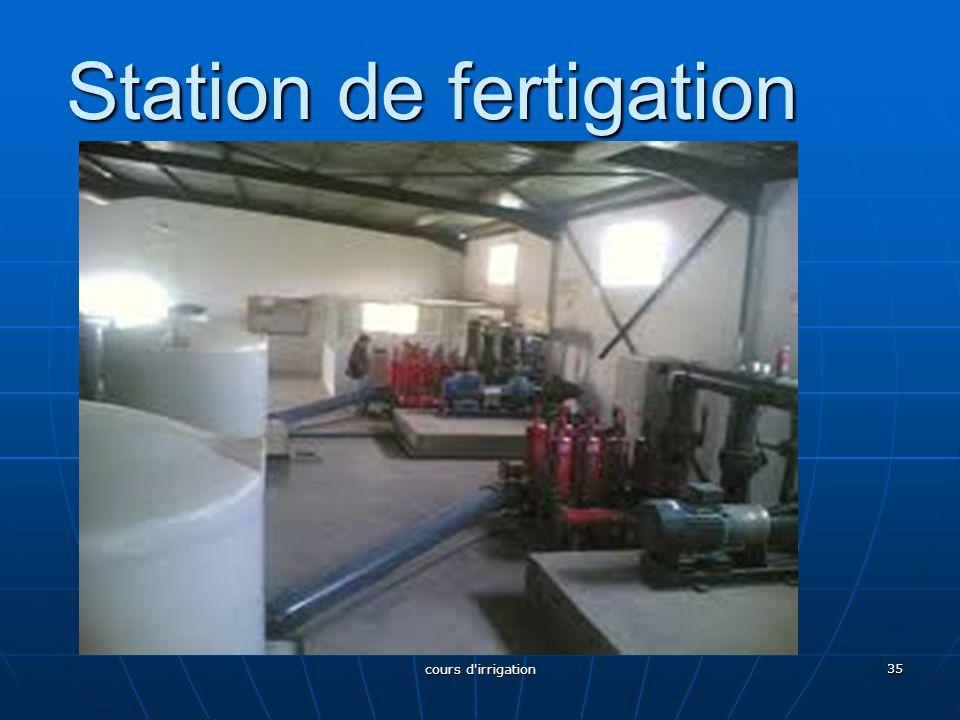 Station de fertigation 35 cours d'irrigation