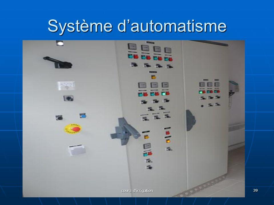 Système d'automatisme 39 cours d'irrigation