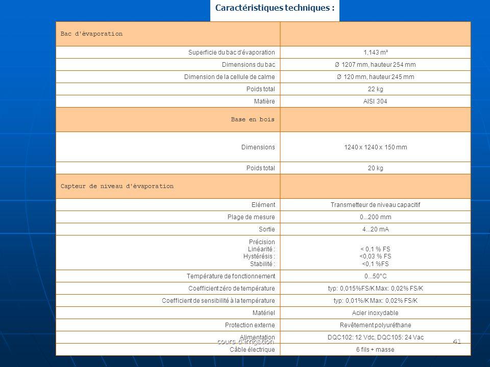 Caractéristiques techniques : Bac d'évaporation Superficie du bac d'évaporation1,143 m² Dimensions du bacØ 1207 mm, hauteur 254 mm Dimension de la cel