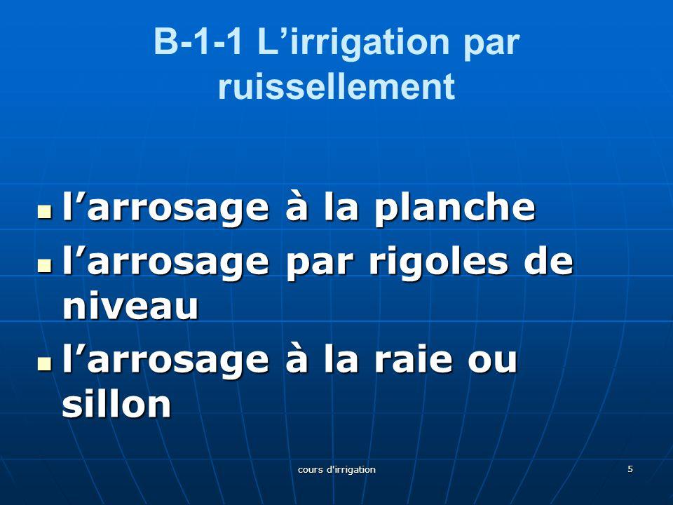 B-1-2 L'irrigation par submersion B-1-2 L'irrigation par submersion Dans ce type d'irrigation l'eau submerge le terrain et s'y infiltre Dans ce type d'irrigation l'eau submerge le terrain et s'y infiltre les cuvettes(utilisées en arboriculture) les cuvettes(utilisées en arboriculture) les cuvettes les cuvettes La submersion continue (utilisée pour le riz) La submersion continue (utilisée pour le riz)submersion continuesubmersion continue Les terrasses ou banquettes (réalisée sur des terrains à plus forte pente) Les terrasses ou banquettes (réalisée sur des terrains à plus forte pente)es terrasses ou banquetteses terrasses ou banquettes 6 cours d irrigation
