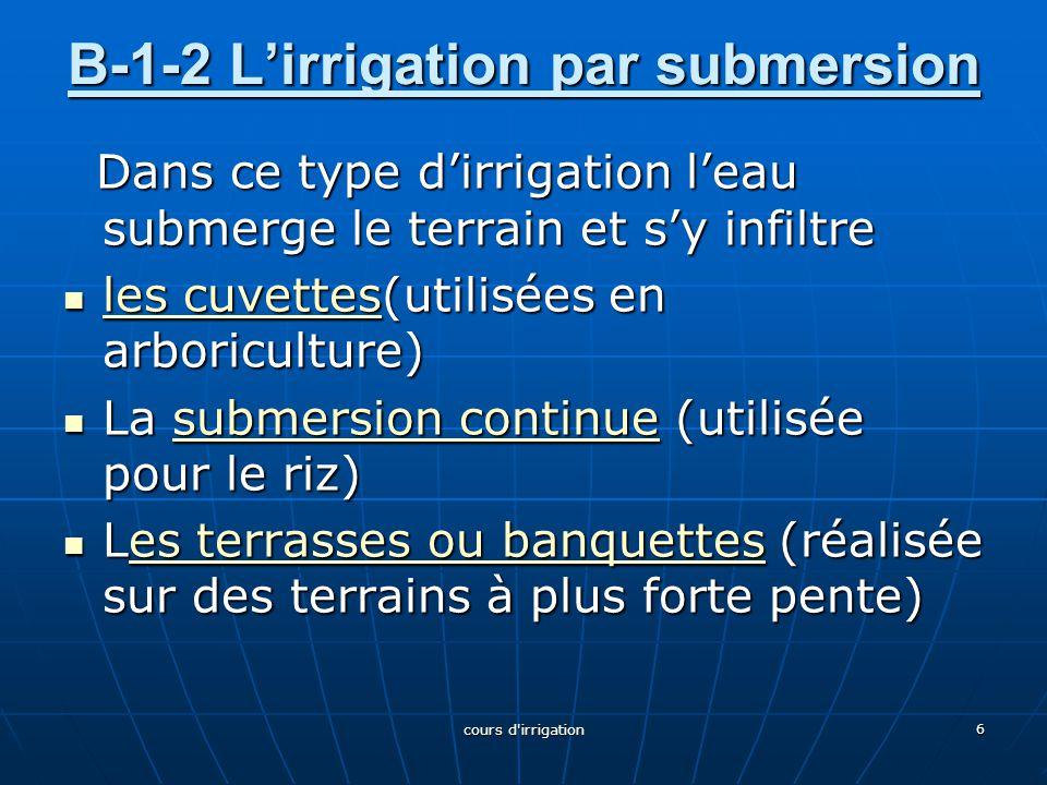 B-1-2 L'irrigation par submersion B-1-2 L'irrigation par submersion Dans ce type d'irrigation l'eau submerge le terrain et s'y infiltre Dans ce type d
