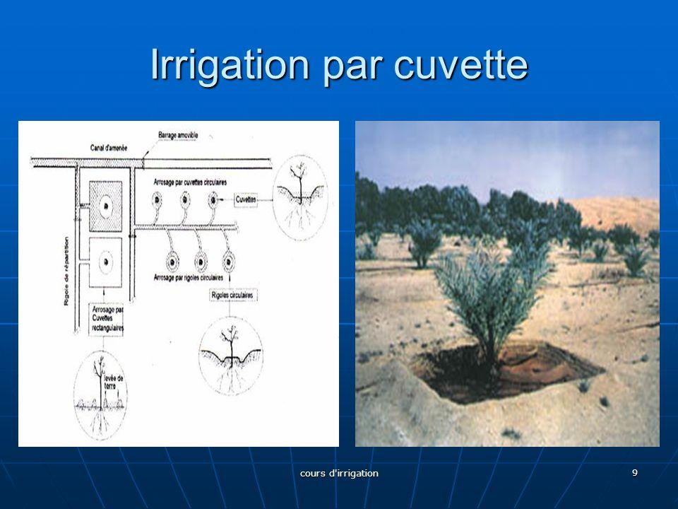 B-1-3 Les techniques mixtes L'irrigation par raies courtes L'irrigation par raies courtes La rigole d'alimentation dessert un certain nombre de raies courtes, séparées par des billons et bouchées à leur extrémité.