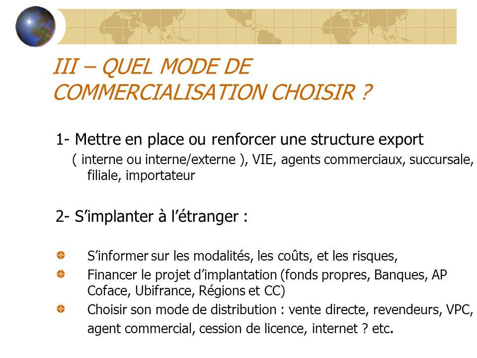 III – QUEL MODE DE COMMERCIALISATION CHOISIR ? 1- Mettre en place ou renforcer une structure export ( interne ou interne/externe ), VIE, agents commer