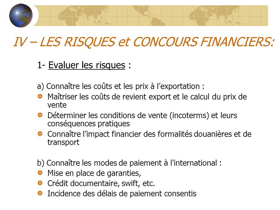 IV – LES RISQUES et CONCOURS FINANCIERS: 1- Evaluer les risques : a) Connaître les coûts et les prix à l'exportation : Maîtriser les coûts de revient