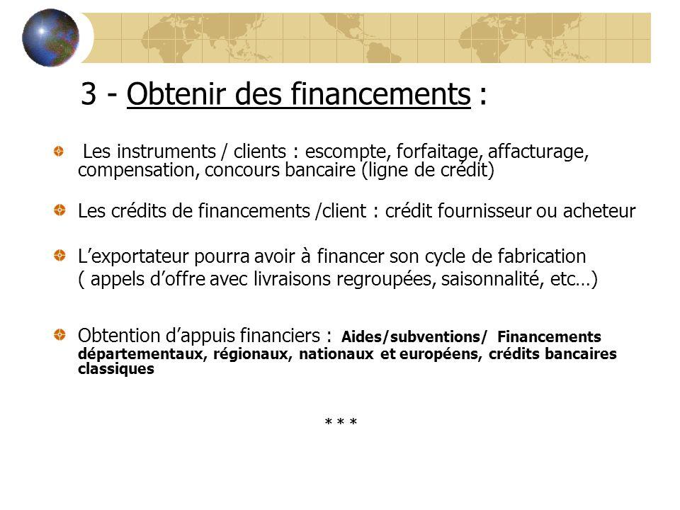 3 - Obtenir des financements : Les instruments / clients : escompte, forfaitage, affacturage, compensation, concours bancaire (ligne de crédit) Les cr