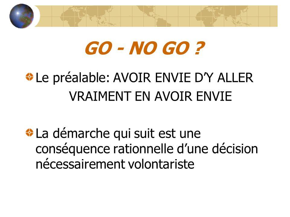 GO - NO GO ? Le préalable: AVOIR ENVIE D'Y ALLER VRAIMENT EN AVOIR ENVIE La démarche qui suit est une conséquence rationnelle d'une décision nécessair