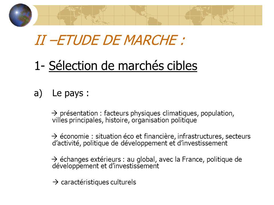 II –ETUDE DE MARCHE : 1- Sélection de marchés cibles a)Le pays :  présentation : facteurs physiques climatiques, population, villes principales, hist