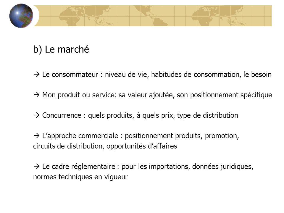 b)Le marché  Le consommateur : niveau de vie, habitudes de consommation, le besoin  Mon produit ou service: sa valeur ajoutée, son positionnement sp