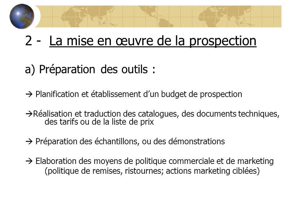 2 - La mise en œuvre de la prospection a) Préparation des outils :  Planification et établissement d'un budget de prospection  Réalisation et traduc