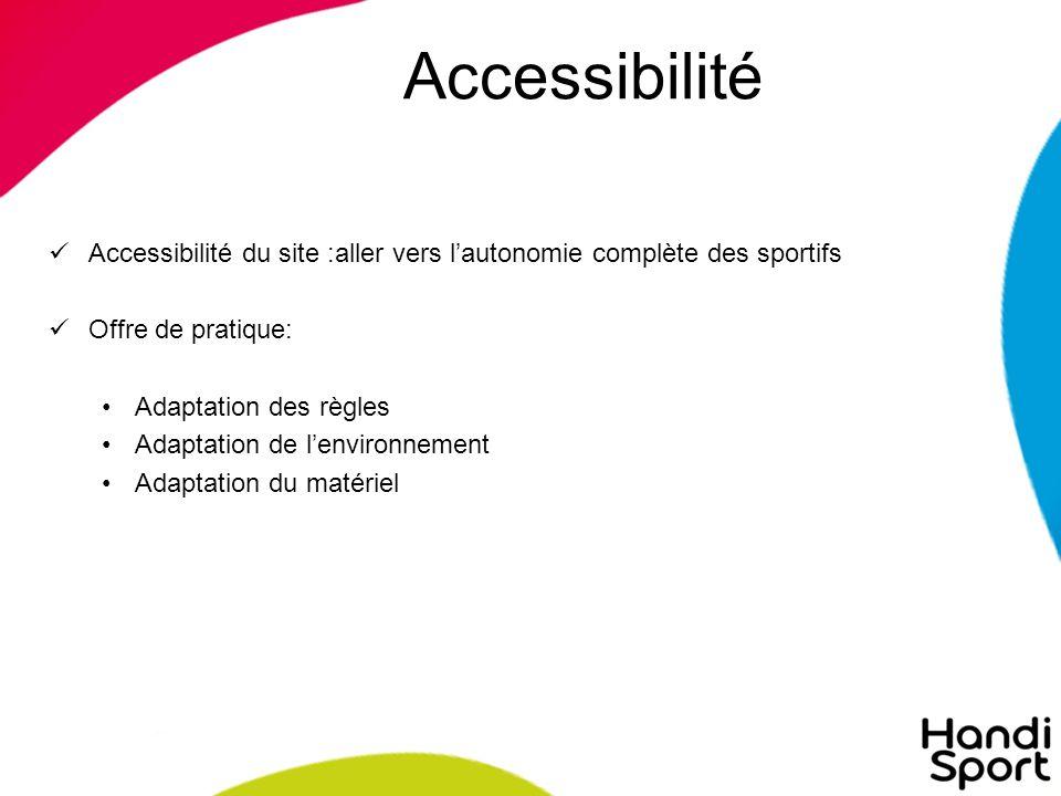 Accessibilité Accessibilité du site :aller vers l'autonomie complète des sportifs Offre de pratique: Adaptation des règles Adaptation de l'environnement Adaptation du matériel