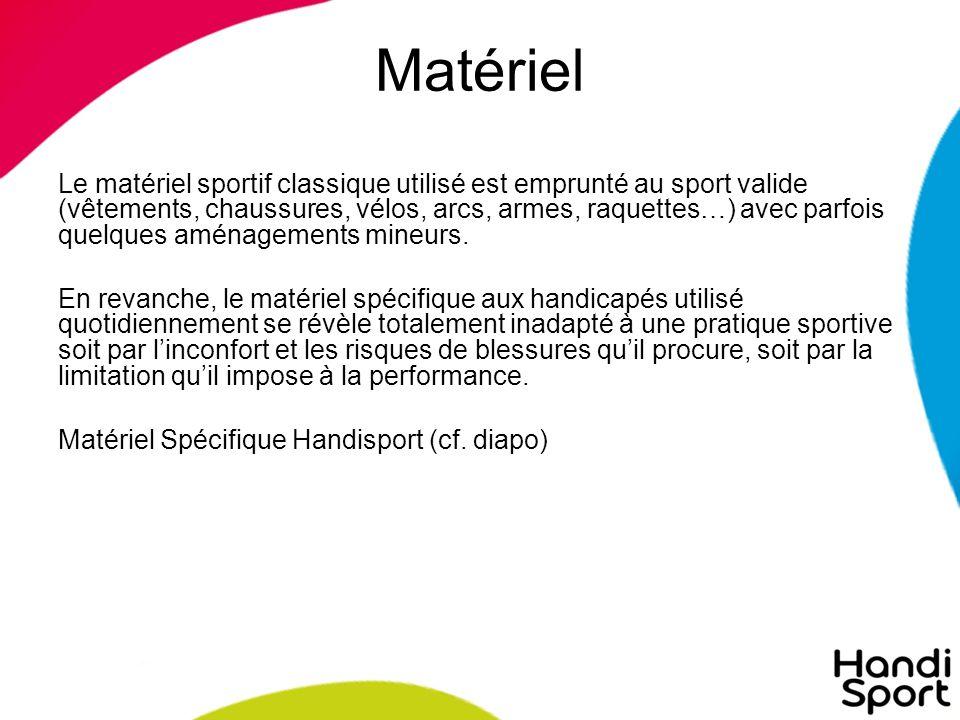 Matériel Le matériel sportif classique utilisé est emprunté au sport valide (vêtements, chaussures, vélos, arcs, armes, raquettes…) avec parfois quelques aménagements mineurs.