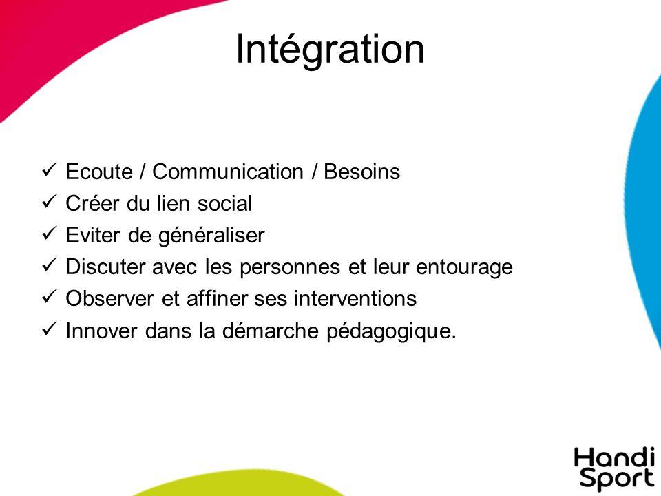Intégration Ecoute / Communication / Besoins Créer du lien social Eviter de généraliser Discuter avec les personnes et leur entourage Observer et affiner ses interventions Innover dans la démarche pédagogique.
