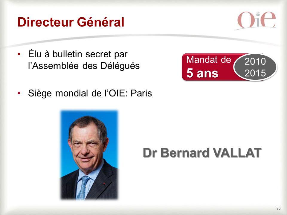 20 Directeur Général Élu à bulletin secret par l'Assemblée des Délégués Siège mondial de l'OIE: Paris Dr Bernard VALLAT Mandat de 5 ans Mandat de 5 ans 2010 2015