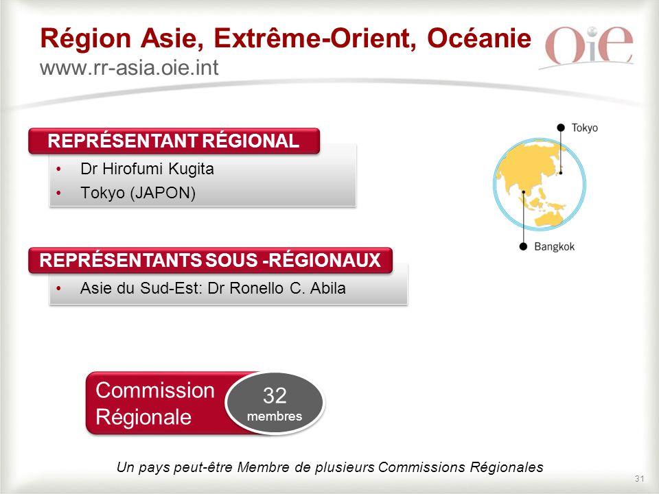 31 Région Asie, Extrême-Orient, Océanie www.rr-asia.oie.int Dr Hirofumi Kugita Tokyo (JAPON) Dr Hirofumi Kugita Tokyo (JAPON) REPRÉSENTANT RÉGIONAL Asie du Sud-Est: Dr Ronello C.